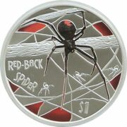 2006 Tuvalu Deadly Dangerous Red-back Spider 1 Silver Proof 1oz Coin Box Coa