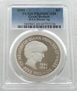 1999 Royal Mint Lady Diana Andpound5 Five Pound Silver Proof Coin Pcgs Pr69 Dcam