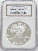 2004 United States Liberty Eagle 1 One Dollar Silver Proof 1oz Coin Ngc Pf70 Uc