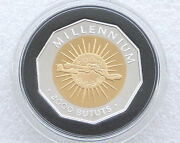 2000 Gambia Millennium 2000 Bututs Silver Gold Proof Coin