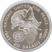 1995 Gambia United Nations 50th Anniversary 20 Dalasis Silver Proof Coin