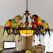 Vintage Style Baroque Parrot Chandelier Stained Glass Ceiling Light