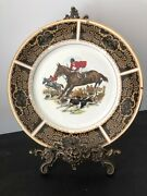 Vintage Pair Of Fine Bone China English Wall Plates With Fox Hunting Scenes 10.5