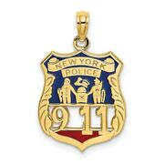 14k Yellow Gold W/ Red And Blue Enamel New York Police 911 Badge Pendant