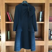 Christian Dior Womenand039s Dark Navy Flared Wool Coat Fr36 It38 / S Made In France