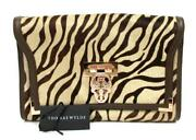 Thomas Wylde Leather Trimmed Zebra Pony Hair Skull Clasp Large Cluth-nwt