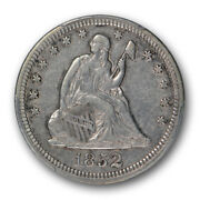 1852 25c Liberty Seated Quarter Pcgs Xf 45 Extra Fine To Au Key Date Coin