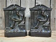 Antique 1920 L V Aronson Metal Monk Priest In Library Books Bookends Heavy