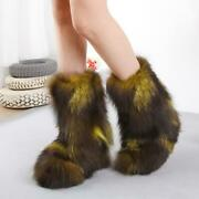 Fashion Women Girland039s Winter Warm Real Fox Fur Ankle Snow Boots Shoes Size 35-40
