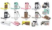 10pcs/lot Neck Rope Zipper Wallet Animal Silicone Soft Case For Iphone Samsung