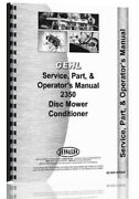 Gehl 2350 Disc Mower Conditioner Service Parts Owners Manual