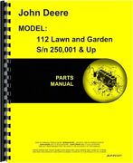 John Deere 112 Tractor Parts Manual Catalog Lawn And Garden Pc1277