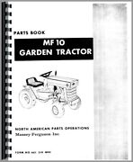 Parts Manual Massey Ferguson 10 Lawn And Garden Tractor