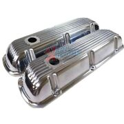 Small Block Ford Sbf 289 302 Short Polished Retro Finned Aluminum Valve Covers