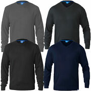 Mens V Crew Neck Knitted Jumper Duke D555 Big King Size Sweater Pullover Top New