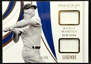 Mickey Mantle 2019 Panini Immaculate Legends Dual Jersey 06/49 1st Jersey
