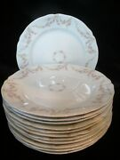 Antique Op Railroad Syracuse China Rose Festoon Pink 12 Dinner Plates Rose Swags