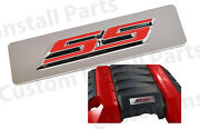 V8 Polished Mirrored Engine Cover Plate + Red Ss Emblem Fits 2010-2015 Camaro Ss