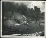 Dec. 7 1941 Wwii Pearl Harbor Uss Shaw And Drydock Destroyed Original Photo