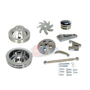 Sbc Small Block Chevy Short Water Pump 2-groove Polished Aluminum Pulley Set