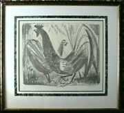 Maxwell Bates Framed Original Serigraph Signed Limited Cock And Hen Rare 1955