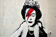 Large Banksy The Queen Ziggy Stardust Graffiti Artist Canvas Picture Wall Art
