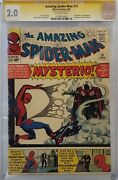 Amazing Spider-man 13 Cgc 2.0 Ss Signed Stan Lee 1st Mysterio