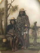 1850and039s Original Mexico Painting On Marble Of Indians Of Pueblo