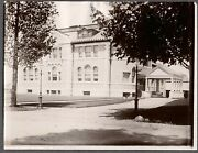 Vintage Photograph 1900's Church School Building Gas Lamps Wisconsin Old Photo