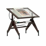 Studio Design Drafting Table Sonoma Walnut Brown Clear Glass Top Aries 13310 New