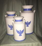 Vintage Set Of 3 Ceramic White And Blue Milk Can Kitchen Canisters W/eagle Logo