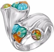 Alan K. Multicolor Murano Glass Hearts And Rounds Double Headed And St/silver Ring