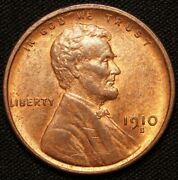1910-s Lincoln Cent Wheat Penny - Unc Red Brown
