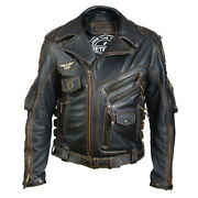 Menand039s Real Cowhide Premium Leather Motorcycle Biker Leather Jacket New Hd Black