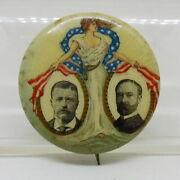 Theodore Roosevelt Charles Fairbanks Lady Liberty Political Campaign Pin Button