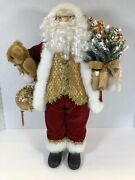 """Home Interiors Vintage Santa Hard-faced 18"""" Figure Red Gold Christmas Gifts"""