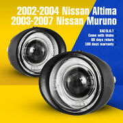 Fits 03-07 Nissan Murano 02-04 Altima Fog Lights Halo Projector Clear Glass Lens