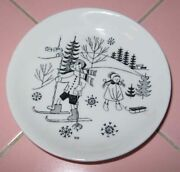 Vintage Arabia 3 Collector Plate Mini Small Winter Boy Girl Skis Sled Finland