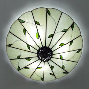 Style Flush Mount Ceiling Light Stained Glass Shade Bedroom Lamp Fixture