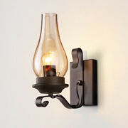 Farmhouse Vintage Glass Shade Wall Light Fixtures Hallway Porch Wall Lamp Sconce
