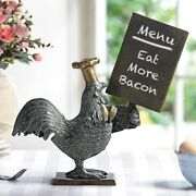 Aluminum Rustic Alpha Rooster With Chef Hat Holding A Menu Board Statue 13.5h