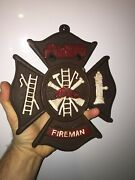 Firefighter Fireman Rescue Cast Iron Sign Plaque Rustic Textured Patina 2+lb Vg
