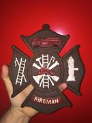 Firefighter Fireman Rescue Cast Iron Sign Plaque Rustic Textured Patina 2+lb Wow