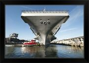 Uss Theodore Roosevelt Pulls Out Of Black Framed Wall Art Print Military Home