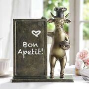Aluminum Whimsical Bull Cow With Chef Hat Standing By A Menu Board Statue Decor