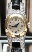 C 40and039s Antique Vintage French / Swiss 40 Diamond 18k Gold And Platinum Set Watch