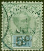 Sarawak 1891 5c On 12c Green And Blue Sg26c Surch Double Fine Used Scarce