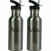 Stainless Steel Sports Water Bottle Wedding Set With Straw Flip Tops Holds 20oz