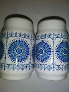 Salt And Pepper Shakers White W/ Blue Circles And Lots Of Details Made In Spain