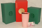 Starbucks - Valentine's Day Pink Quilted Traveler Tumbler + Gift Card 2017 New